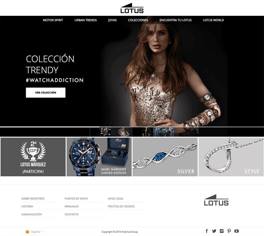 Nuevo desarrollo web de Lotus Watches